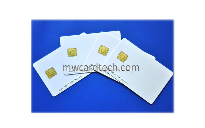 Silver/ white jcop card j2a040 java card whit magnetic stripe